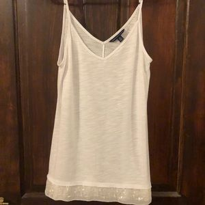EUC white tank with sequins on bottom